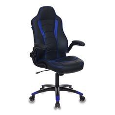 Кресло игровое БЮРОКРАТ VIKING-2, на колесиках, искусственная кожа, черно-синий [viking-2/bl+blue]