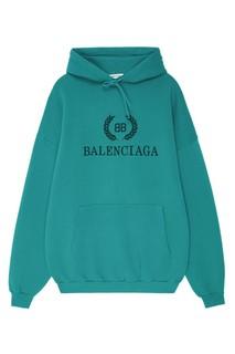 Бирюзовое худи с логотипом BB Balenciaga