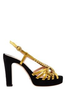 Золотисто-черные босоножки с кристаллами Gucci