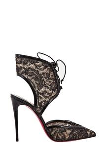 Комбинированные черные туфли Josephine 100 Christian Louboutin