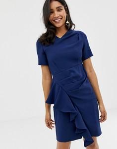 Асимметричное платье со складками Closet - Темно-синий