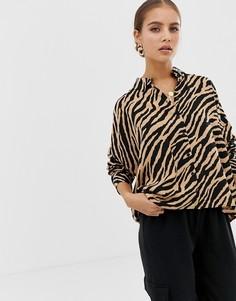 Укороченная рубашка с длинными рукавами и тигровым принтом ASOS DESIGN - Мульти