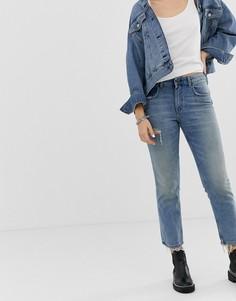 Укороченные джинсы в винтажном стиле из плотного денима с рваной отделкой Cheap Monday - Синий