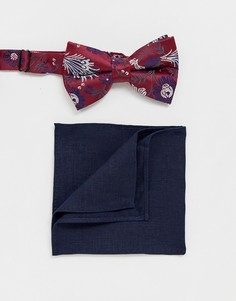 Бордовый галстук-бабочка и темно-синий платок-паше ASOS DESIGN - Мульти