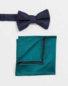 Темно-синий галстук-бабочка и зеленый платок-паше ASOS DESIGN - Зеленый