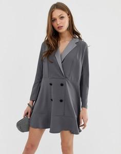Платье-смокинг мини с оборкой по краю ASOS DESIGN - Серый