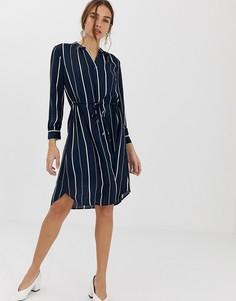 Платье-рубашка мини в полоску Selected Femme - Мульти