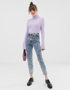 Узкие джинсы в винтажном стиле с двойным ремнем и эффектом кислотной стирки ASOS DESIGN Farleigh - Синий