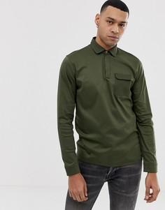 Поло цвета хаки из мерсеризованного хлопка с карманом Ted Baker - Зеленый