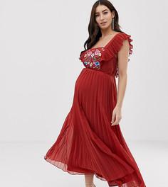 Плиссированное платье миди с квадратным вырезом и вышивкой ASOS DESIGN - Красный
