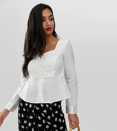 Рубашка с квадратным вырезом и оборкой Vero Moda Petite - Белый