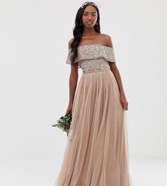 Светло-розовое платье макси из тюля с открытыми плечами и отделкой пайетками Maya Tall Bridesmaid - Коричневый