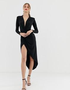 Черное платье макси с глубоким вырезом и сборками John Zack - Черный