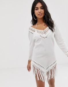 Платье с кисточками и ажурной вставкой ASOS DESIGN - Белый