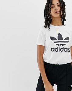 Белая футболка adidas Originals Trefoil - Белый