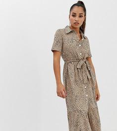 Платье-рубашка миди с леопардовым принтом и поясом ASOS DESIGN Petite - Мульти
