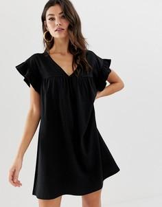 Свободное двустороннее платье мини из хлопка ASOS DESIGN - Черный