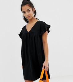 Двустороннее платье мини свободного кроя из хлопка ASOS DESIGN Petite - Черный