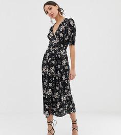 Плиссированное платье миди с цветочным принтом и пуговицами ASOS DESIGN Tall - Мульти