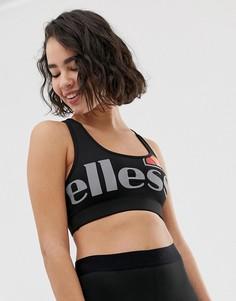 Спортивный бюстгальтер с крупным логотипом Ellesse - Черный