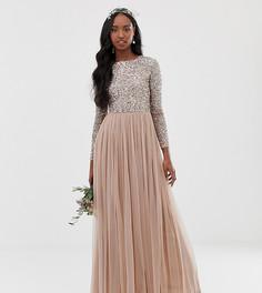 Светло-розовое платье макси из тюля с длинными рукавами и пайетками Maya Tall Bridesmaid - Коричневый