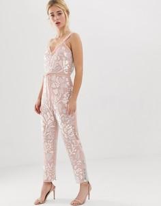 Розовый комбинезон с цветочной отделкой и поясом Needle and Thread - Розовый