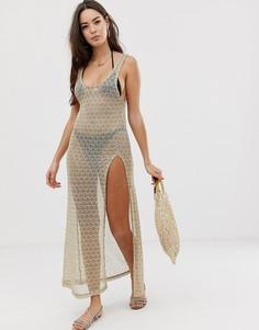 Пляжное платье макси из сетчатого трикотажа с пайетками ASOS DESIGN - Золотой