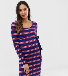 db92654f115 Трикотажное платье в рубчик и полоску Mamalicious - Синий Mama.Licious с глубоким  вырезом