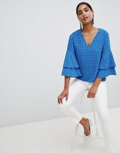 Блузка с V-образным вырезом Vesper - Синий