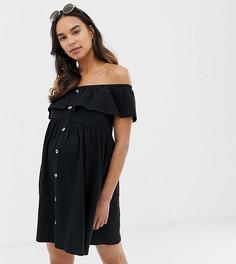 Сарафан мини на пуговицах с ярусной юбкой ASOS DESIGN Maternity - Черный