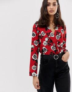 Боди с запахом и цветочным принтом Parisian - Красный