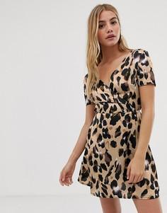 Платье с леопардовым принтом Parisian - Коричневый