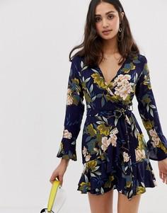 Платье с запахом, цветочным принтом и поясом-завязкой Parisian - Темно-синий