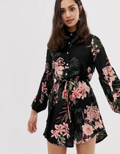 Платье-рубашка без воротника с цветочным принтом Parisian - Черный