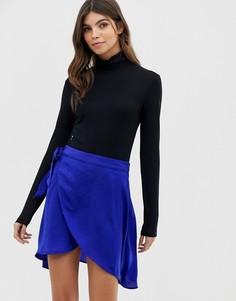 Атласная юбка с запахом Vila - Синий