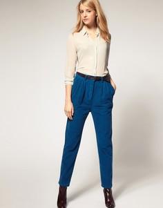 Вельветовые брюки-галифе с завышенной талией ASOS - Синий
