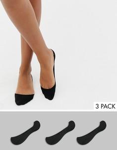 Набор из 3 пар черных невидимых носков New Look - Черный