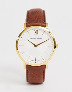 Часы с кожаным ремешком Larsson & Jennings Lugano Sloane 40 мм - Коричневый