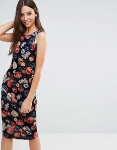 Платье миди с цветочным принтом Jasmine - Темно-синий