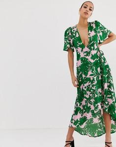Зеленое платье миди с тропическим пальмовым принтом и глубоким вырезом Missguided - Мульти