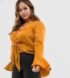 Атласная блузка медного цвета с завязкой Missguided Plus - Оранжевый