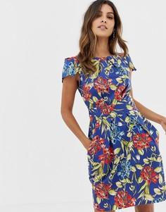 Платье-тюльпан с цветочным принтом и завязкой Closet - Мульти