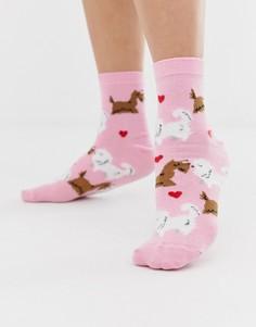Носки с изображением собак ASOS DESIGN Valentines - Розовый