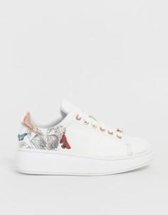 Белые кожаные кроссовки с цветочным принтом и массивной подошвой Ted Baker - Белый
