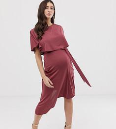 Платье миди с укороченным лифом и асимметричной юбкой ASOS DESIGN Maternity - Красный