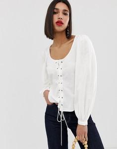 Блузка с квадратным вырезом и пышными рукавами Vero Moda - Белый