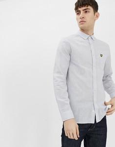 Рубашка из хлопка и льна с длинными рукавами Lyle & Scott - Синий