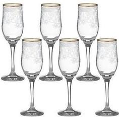 Набор бокалов 6 штук 200 мл М-Декор Акация гравировка отводка золото (1712-ГЗ)