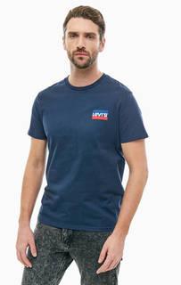Синяя хлопковая футболка с принтом Levis