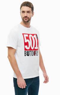 Хлопковая футболка с контрастным принтом Levis